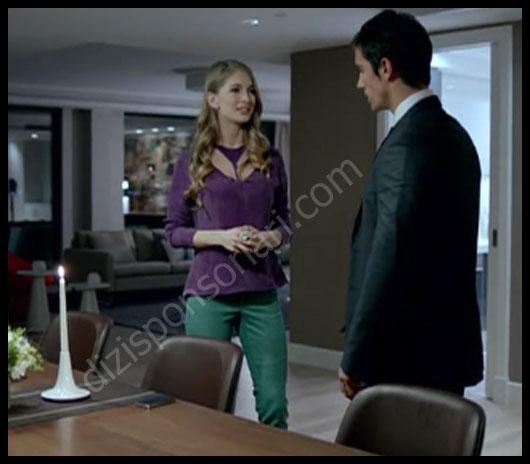 Irmak'ın 4.bölümdeki mor gömleği yeşil pantolonu...